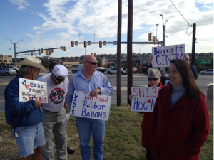 Terri Hall, a Texas home school mother of nine turned citizen activist leads a protest against foreign toll road company, Cintra