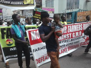 March Against Monsanto in Accra, Ghana – Under a clause included in an interim Economic Parternship Agreement concluded with the EU, Ghana's government will have to negotiate rules on intellectual property, including traditional knowledge and genetic resources.