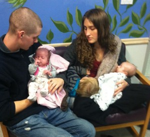 The Rengo Family: Cleave, Erica, with 10 month old Levi, and newborn twins.