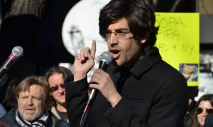 Information access advocate Aaron Swartz speaks to a crowd. Photograph: Daniel J. Sieradski/dpa/Corbis