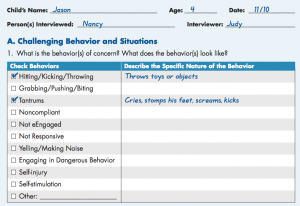 Assessing little 4 year old Jason, page 59 http://www.ecmhc.org/documents/CECMHC_FacilitatingToolkit.pdf