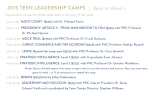 "Notice 2 ""Strategic Intelligence"" workshops for Farris's ""Teen Leadership Camps"""