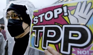 A protester holds a placard during a rally against the Trans-Pacific Partnership (TPP) in Tokyo. Photograph: Shizuo Kambayashi/AP