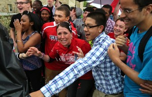 Stacie Starr reacts to winning the Top Teacher contest (Bruce Bishop/ Chronicle-Telegram