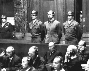 War Crimes Tribunal at Nuremberg. Adolf Hitler's personal physician, 43-year old Karl Brandt. Brandt was also Reich Commissar for Health and Sanitation, and was indicted by the U.S. prosecution with 22 other Nazi doctors. Brandt was found guilty of participating in and consenting to using concentration camp inmates as guinea pigs in horrible medical experiments, supposedly for the benefit of the armed forces. He was sentenced to death by hanging. Image Source.