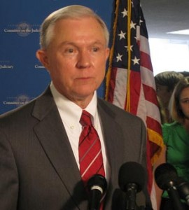Sen. Jeff Sessions, speaking to the press. (Photo: Talk Radio News Service)